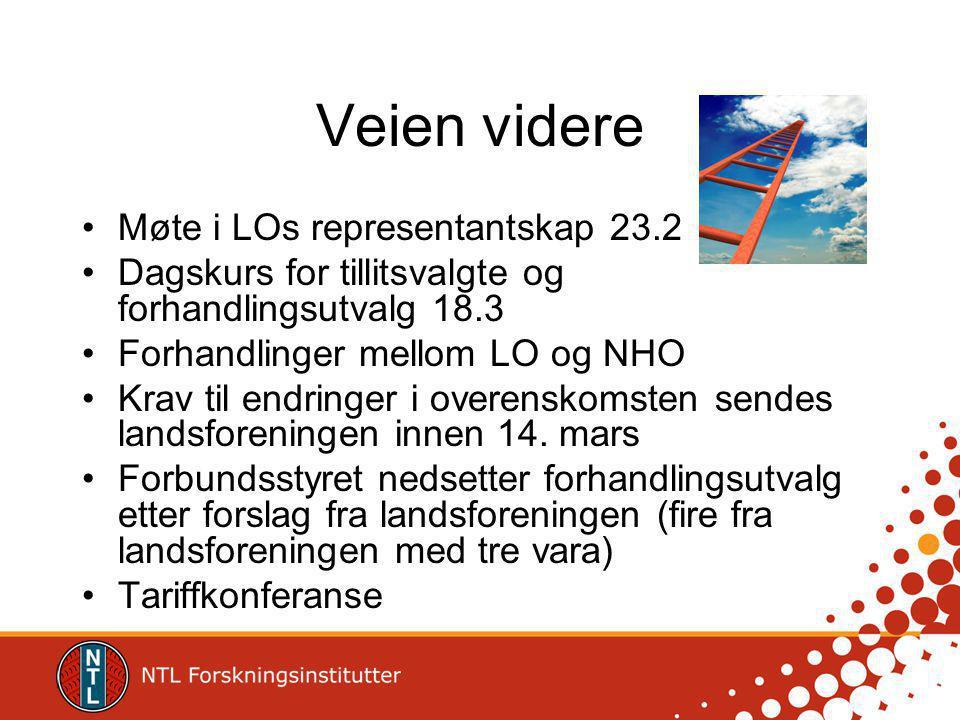 Veien videre Møte i LOs representantskap 23.2 Dagskurs for tillitsvalgte og forhandlingsutvalg 18.3 Forhandlinger mellom LO og NHO Krav til endringer i overenskomsten sendes landsforeningen innen 14.