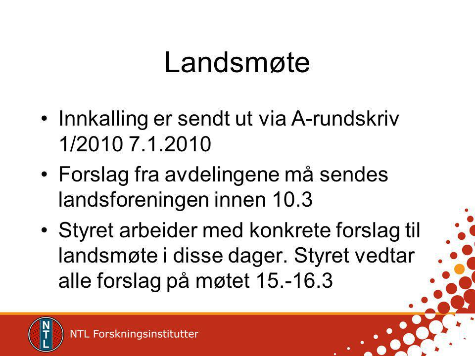 Landsmøte Innkalling er sendt ut via A-rundskriv 1/2010 7.1.2010 Forslag fra avdelingene må sendes landsforeningen innen 10.3 Styret arbeider med konkrete forslag til landsmøte i disse dager.