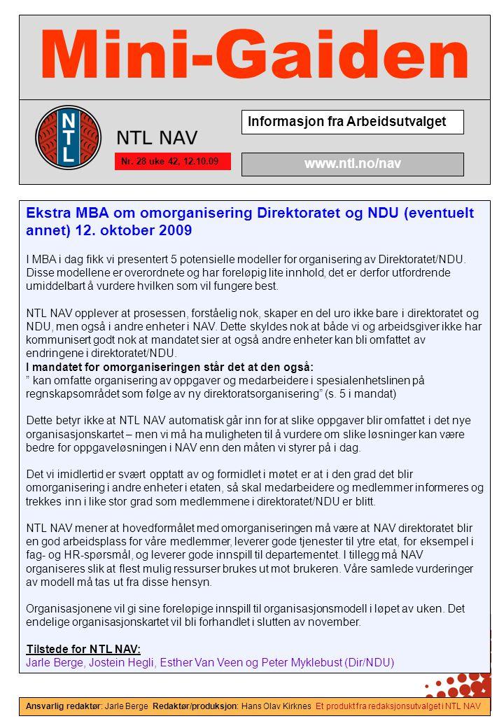 Mini-Gaiden Informasjon fra Arbeidsutvalget Nr.
