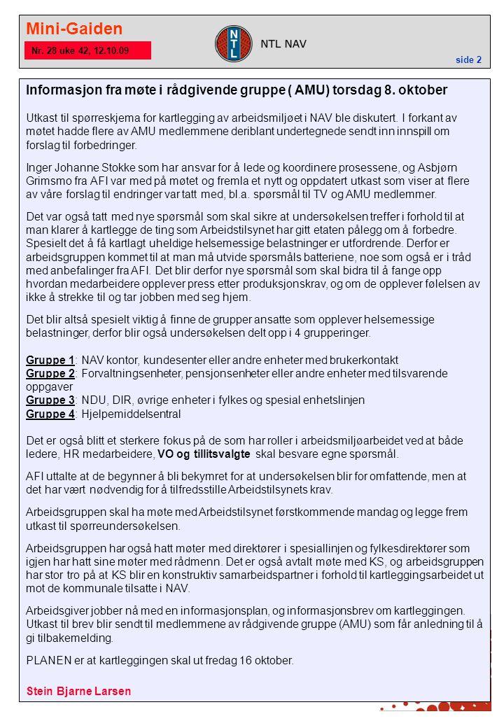 Mini-Gaiden side 2 Nr. 28 uke 42, 12.10.09 Informasjon fra møte i rådgivende gruppe ( AMU) torsdag 8. oktober Utkast til spørreskjema for kartlegging