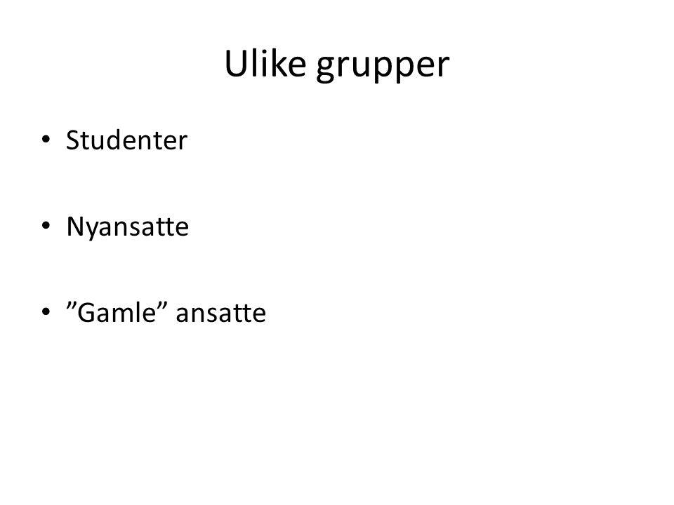 """Ulike grupper Studenter Nyansatte """"Gamle"""" ansatte"""