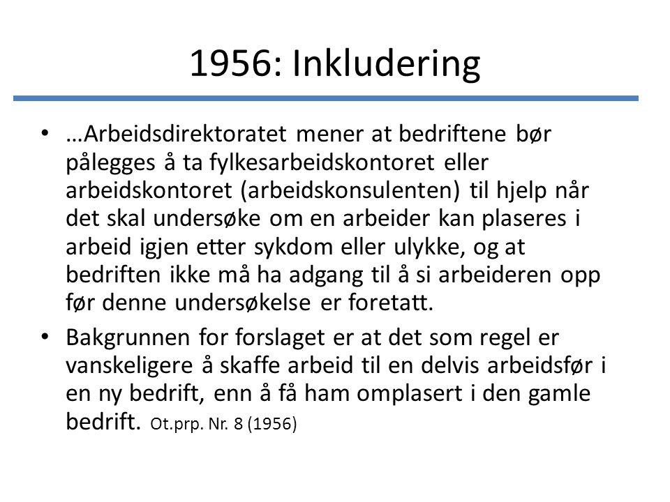 1956: Inkludering …Arbeidsdirektoratet mener at bedriftene bør pålegges å ta fylkesarbeidskontoret eller arbeidskontoret (arbeidskonsulenten) til hjel