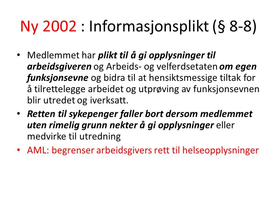 Ny 2002 : Informasjonsplikt (§ 8-8) Medlemmet har plikt til å gi opplysninger til arbeidsgiveren og Arbeids- og velferdsetaten om egen funksjonsevne og bidra til at hensiktsmessige tiltak for å tilrettelegge arbeidet og utprøving av funksjonsevnen blir utredet og iverksatt.