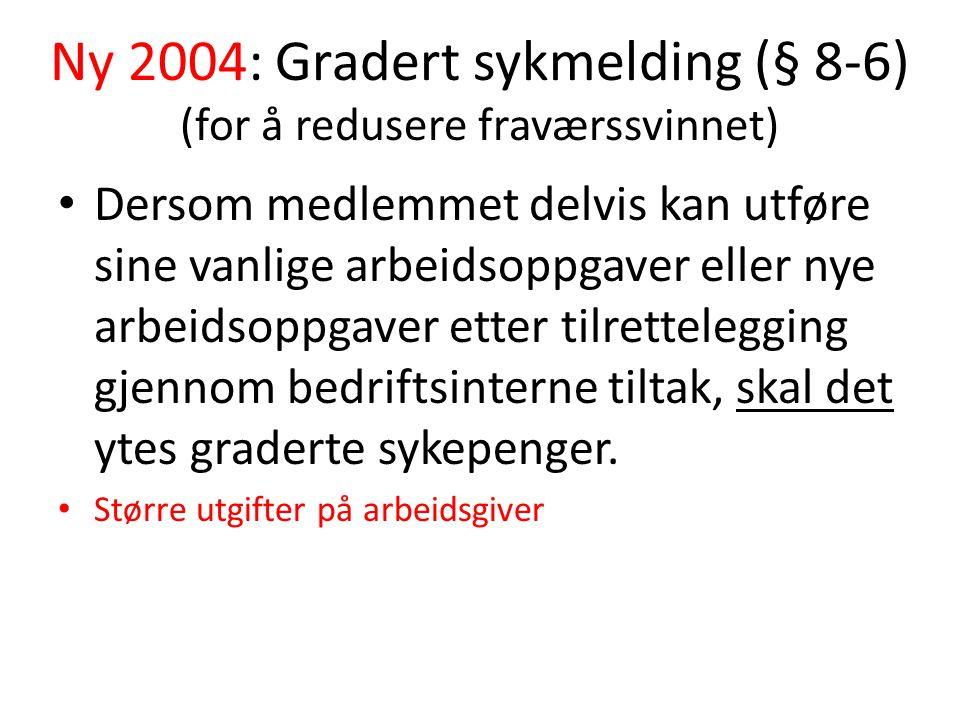 Ny 2004: Gradert sykmelding (§ 8-6) (for å redusere fraværssvinnet) Dersom medlemmet delvis kan utføre sine vanlige arbeidsoppgaver eller nye arbeidso
