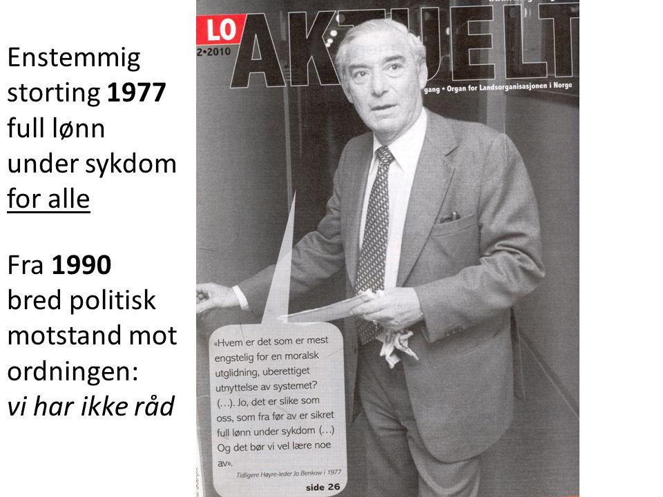Enstemmig storting 1977 full lønn under sykdom for alle Fra 1990 bred politisk motstand mot ordningen: vi har ikke råd
