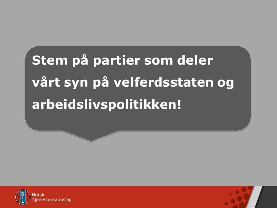 Stem på partier som deler vårt syn på velferdsstaten og arbeidslivspolitikken!