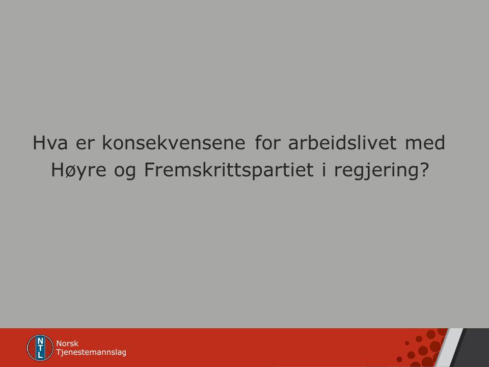 Hva er konsekvensene for arbeidslivet med Høyre og Fremskrittspartiet i regjering