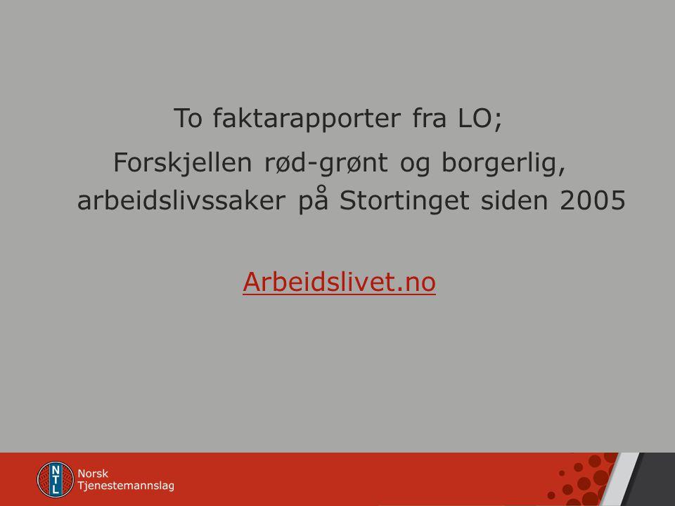To faktarapporter fra LO; Forskjellen rød-grønt og borgerlig, arbeidslivssaker på Stortinget siden 2005 Arbeidslivet.no