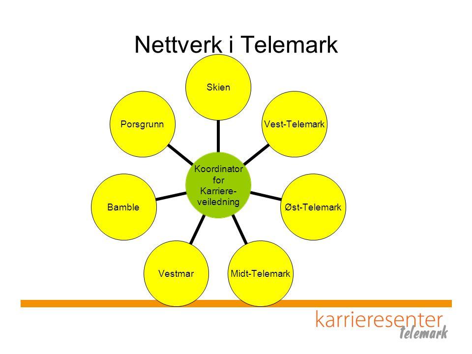 Nettverk i Telemark Koordinator for Karriere- veiledning Skien Vest- Telemark Øst- Telemark Midt- Telemark VestmarBamblePorsgrunn