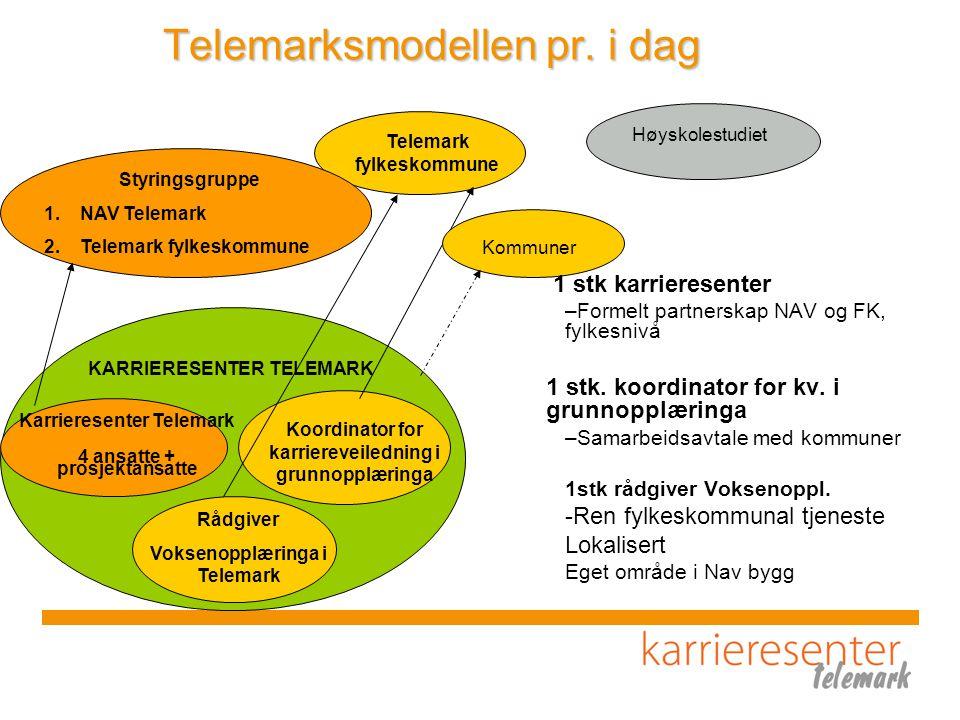 Karrieresenter Telemark 4 ansatte + prosjektansatte Koordinator for karriereveiledning i grunnopplæringa Rådgiver Voksenopplæringa i Telemark Telemark fylkeskommune Styringsgruppe 1.NAV Telemark 2.Telemark fylkeskommune KARRIERESENTER TELEMARK Telemarksmodellen pr.