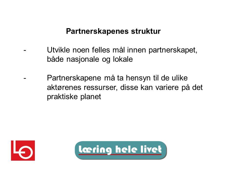 Partnerskapenes struktur -Utvikle noen felles mål innen partnerskapet, både nasjonale og lokale -Partnerskapene må ta hensyn til de ulike aktørenes ressurser, disse kan variere på det praktiske planet