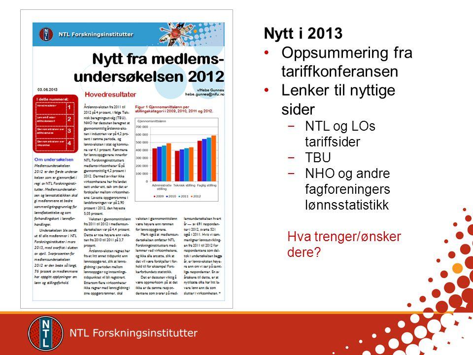 Nytt i 2013 Oppsummering fra tariffkonferansen Lenker til nyttige sider −NTL og LOs tariffsider −TBU −NHO og andre fagforeningers lønnsstatistikk Hva trenger/ønsker dere