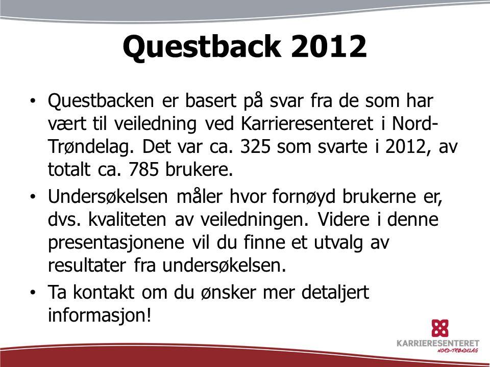 Questback 2012 Questbacken er basert på svar fra de som har vært til veiledning ved Karrieresenteret i Nord- Trøndelag. Det var ca. 325 som svarte i 2