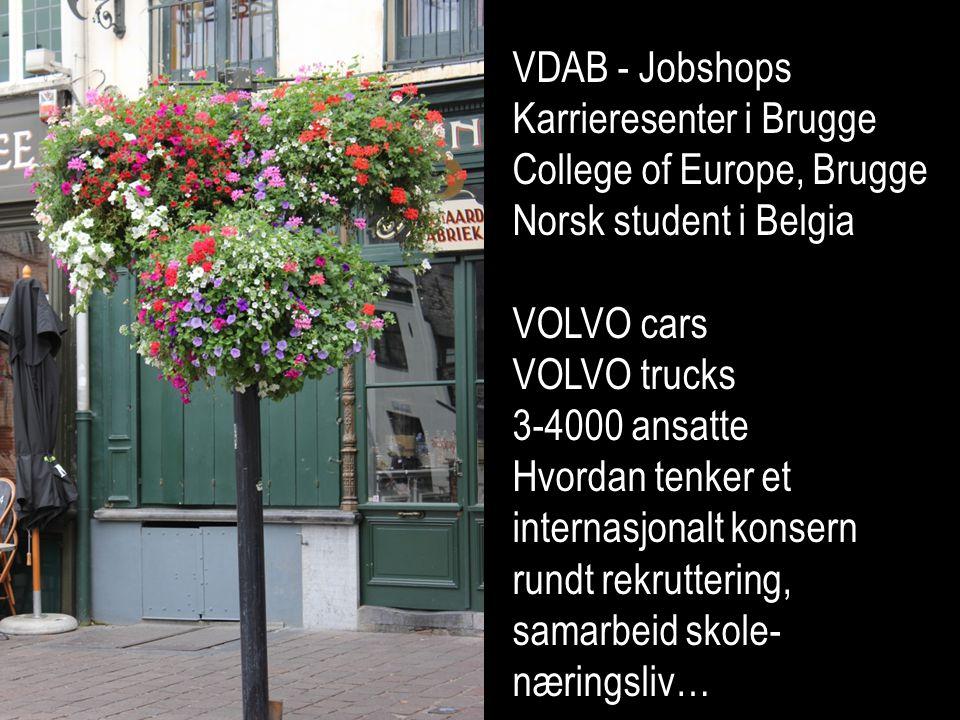 VDAB - Jobshops Karrieresenter i Brugge College of Europe, Brugge Norsk student i Belgia VOLVO cars VOLVO trucks 3-4000 ansatte Hvordan tenker et internasjonalt konsern rundt rekruttering, samarbeid skole- næringsliv…
