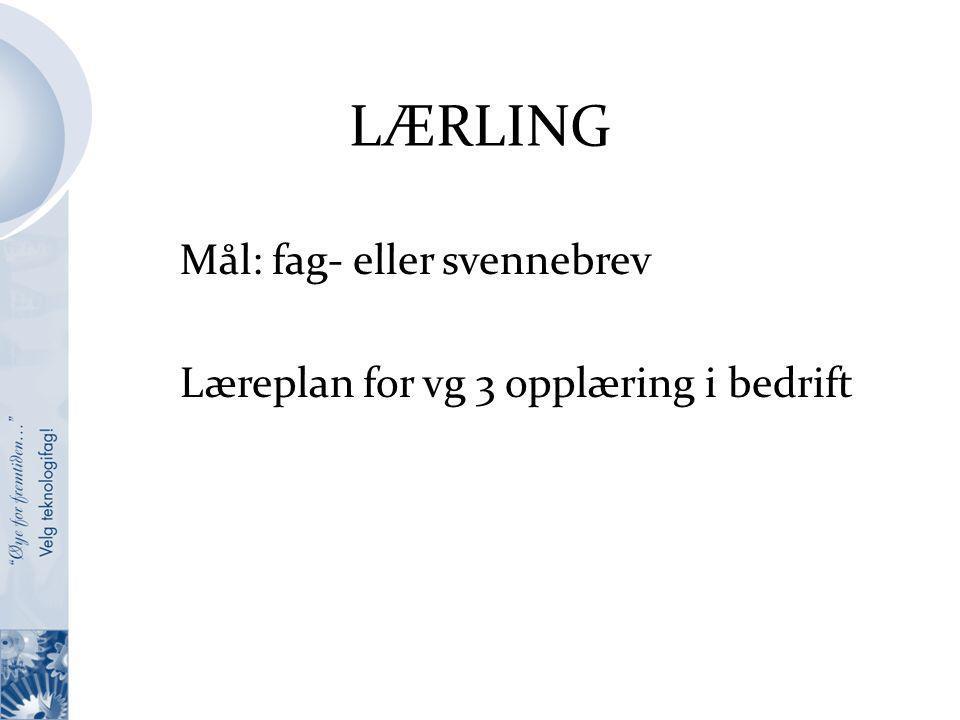 LÆRLING Mål: fag- eller svennebrev Læreplan for vg 3 opplæring i bedrift