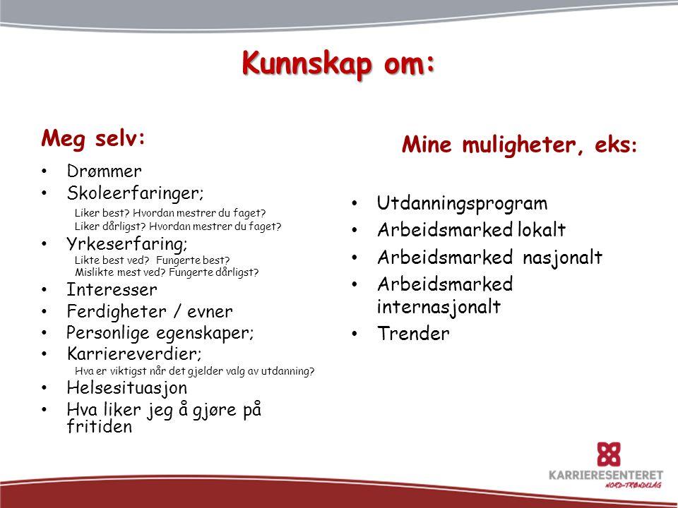 Kunnskap om: Meg selv: Drømmer Skoleerfaringer; Liker best.