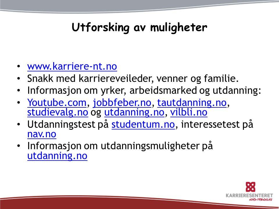 Utforsking av muligheter www.karriere-nt.no Snakk med karriereveileder, venner og familie.