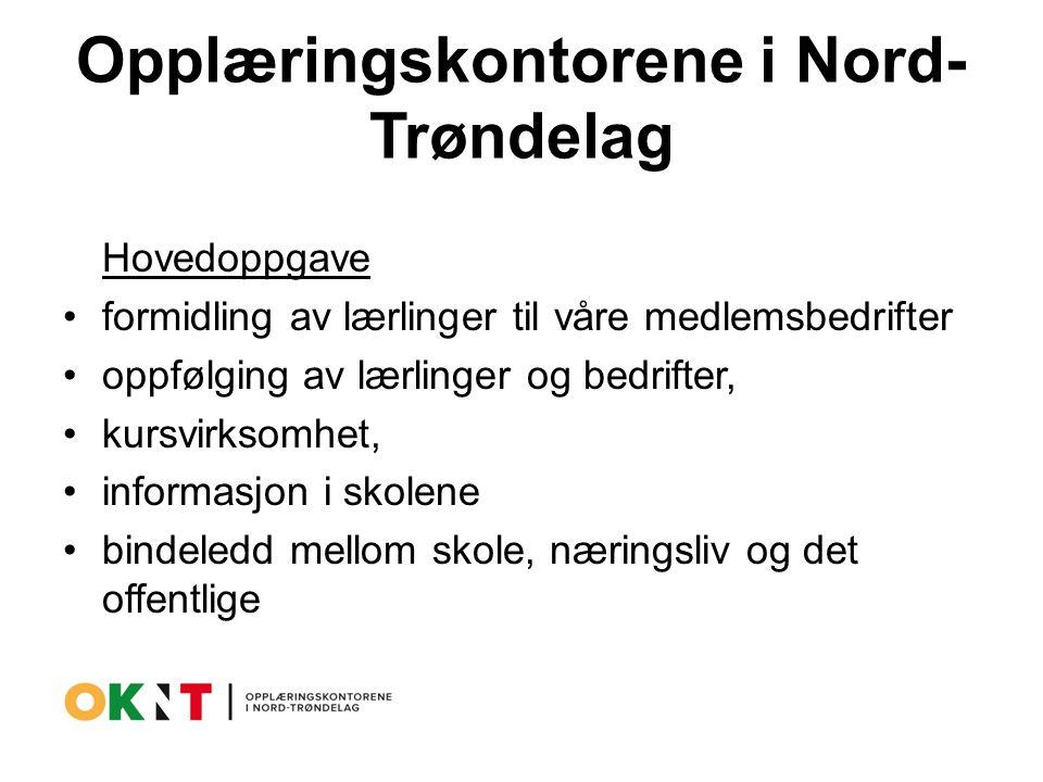 Opplæringskontorene i Nord- Trøndelag Hovedoppgave formidling av lærlinger til våre medlemsbedrifter oppfølging av lærlinger og bedrifter, kursvirksomhet, informasjon i skolene bindeledd mellom skole, næringsliv og det offentlige