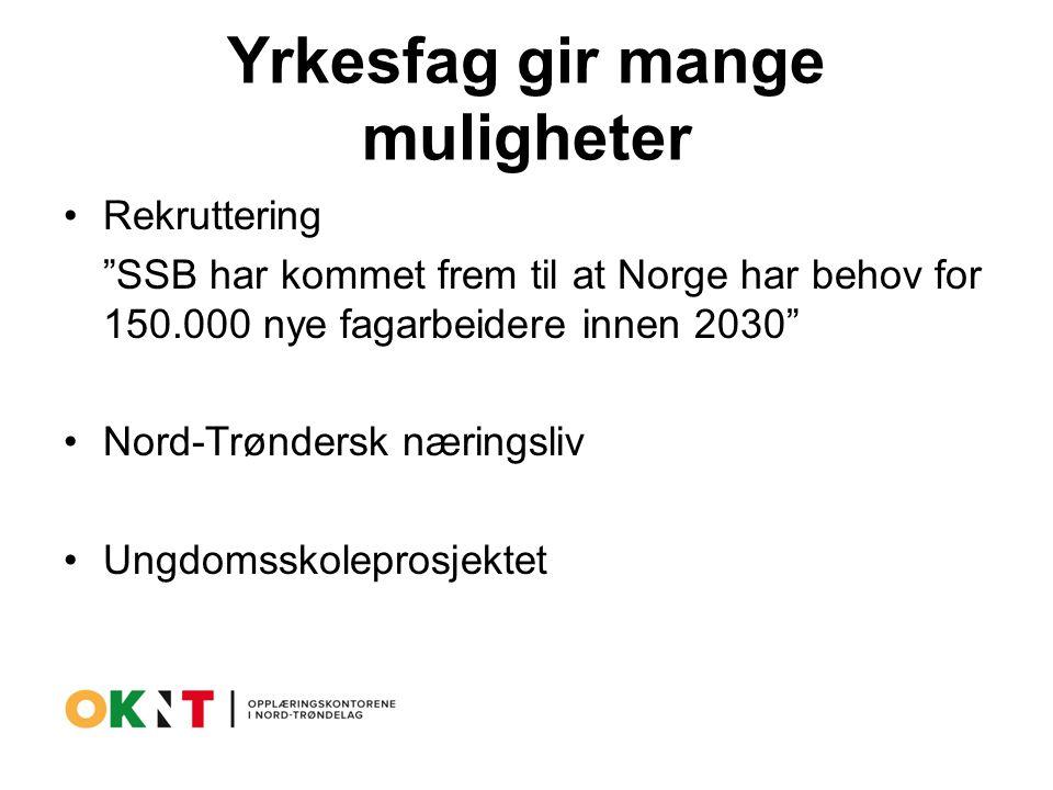 Yrkesfag gir mange muligheter Rekruttering SSB har kommet frem til at Norge har behov for 150.000 nye fagarbeidere innen 2030 Nord-Trøndersk næringsliv Ungdomsskoleprosjektet