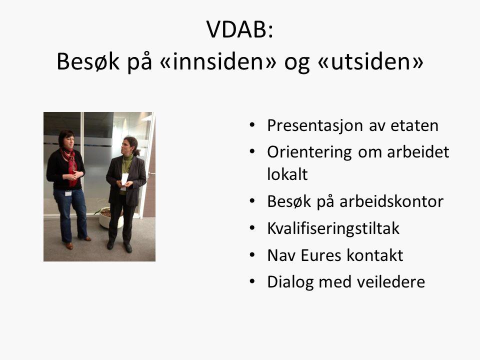 VDAB: Besøk på «innsiden» og «utsiden» Presentasjon av etaten Orientering om arbeidet lokalt Besøk på arbeidskontor Kvalifiseringstiltak Nav Eures kontakt Dialog med veiledere
