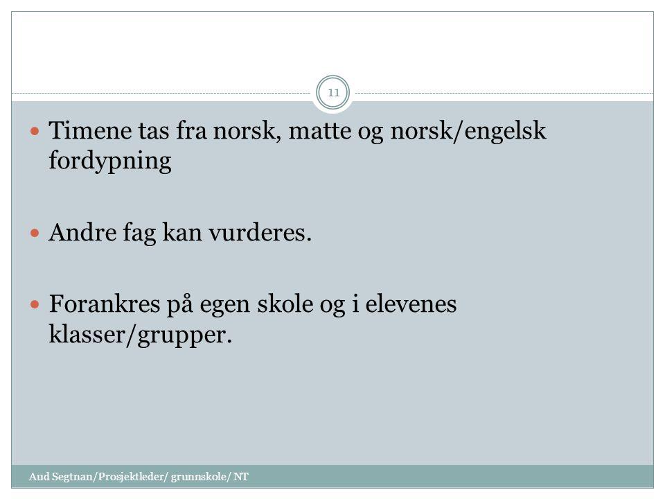 Timene tas fra norsk, matte og norsk/engelsk fordypning Andre fag kan vurderes. Forankres på egen skole og i elevenes klasser/grupper. 11 Aud Segtnan/