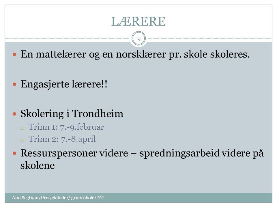 LÆRERE En mattelærer og en norsklærer pr.skole skoleres.