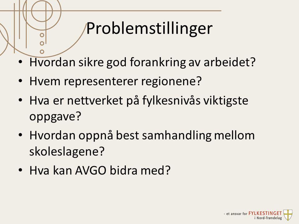 Problemstillinger Hvordan sikre god forankring av arbeidet? Hvem representerer regionene? Hva er nettverket på fylkesnivås viktigste oppgave? Hvordan