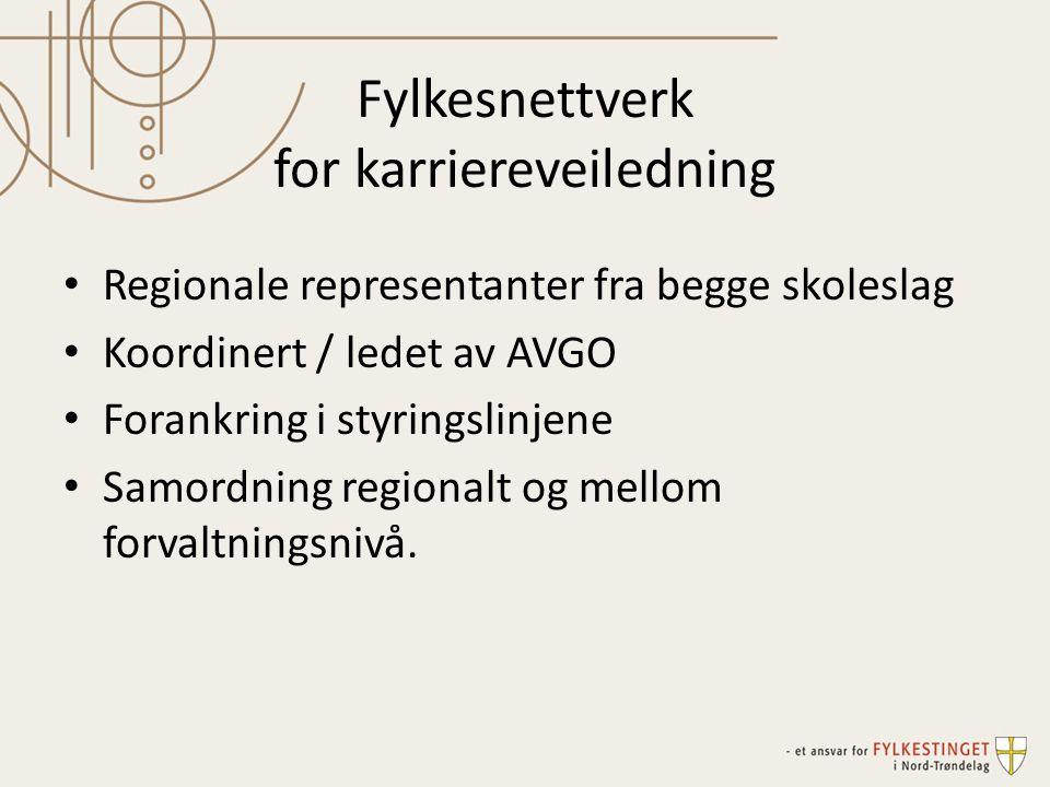 Fylkesnettverk for karriereveiledning Regionale representanter fra begge skoleslag Koordinert / ledet av AVGO Forankring i styringslinjene Samordning regionalt og mellom forvaltningsnivå.