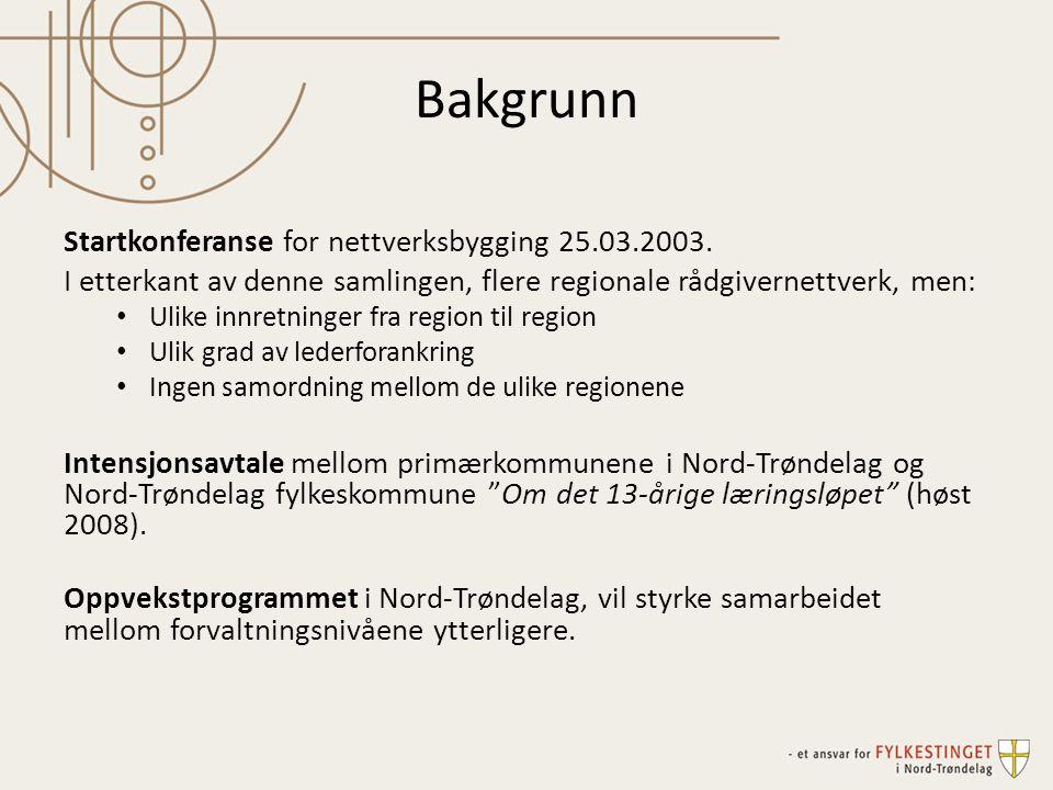 Bakgrunn Startkonferanse for nettverksbygging 25.03.2003. I etterkant av denne samlingen, flere regionale rådgivernettverk, men: Ulike innretninger fr