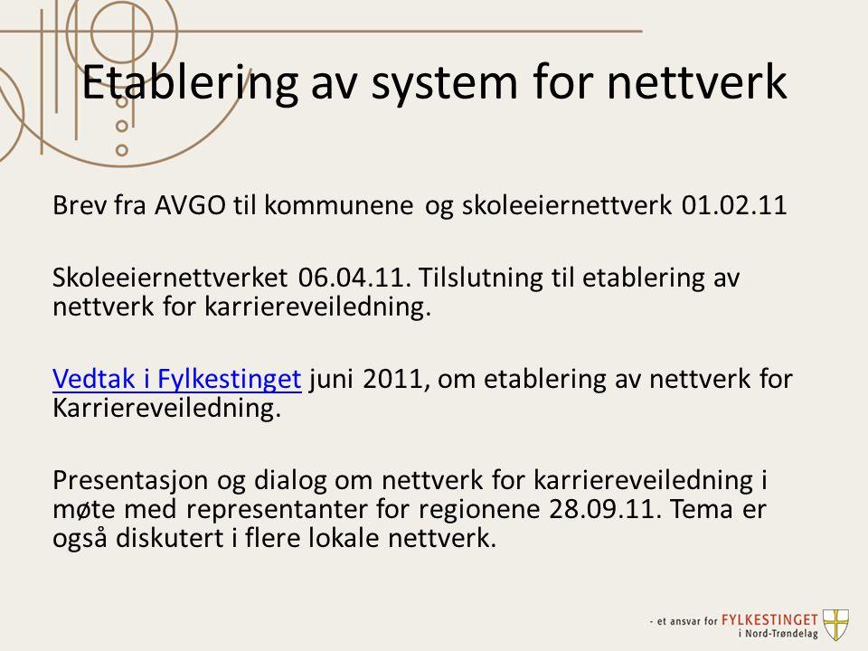 Etablering av system for nettverk Brev fra AVGO til kommunene og skoleeiernettverk 01.02.11 Skoleeiernettverket 06.04.11. Tilslutning til etablering a