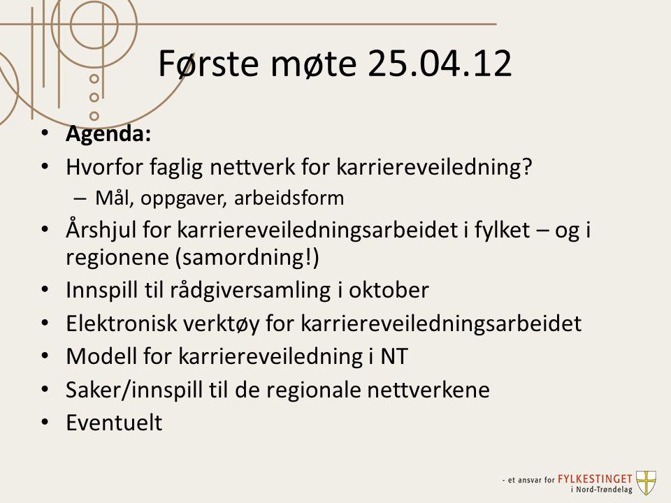 Første møte 25.04.12 Agenda: Hvorfor faglig nettverk for karriereveiledning? – Mål, oppgaver, arbeidsform Årshjul for karriereveiledningsarbeidet i fy
