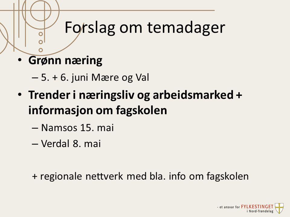 Forslag om temadager Grønn næring – 5. + 6. juni Mære og Val Trender i næringsliv og arbeidsmarked + informasjon om fagskolen – Namsos 15. mai – Verda