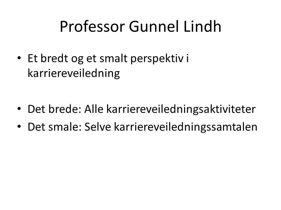 Professor Gunnel Lindh Et bredt og et smalt perspektiv i karriereveiledning Det brede: Alle karriereveiledningsaktiviteter Det smale: Selve karriereveiledningssamtalen