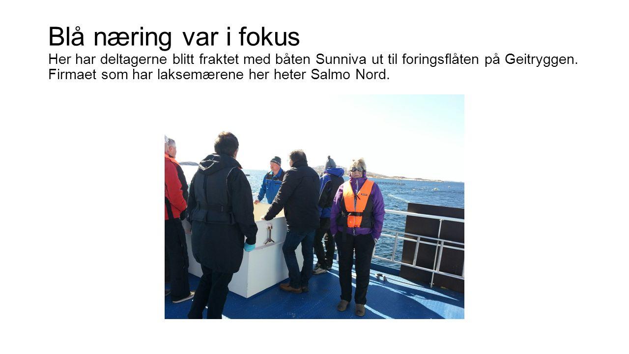 Blå næring var i fokus Her har deltagerne blitt fraktet med båten Sunniva ut til foringsflåten på Geitryggen.