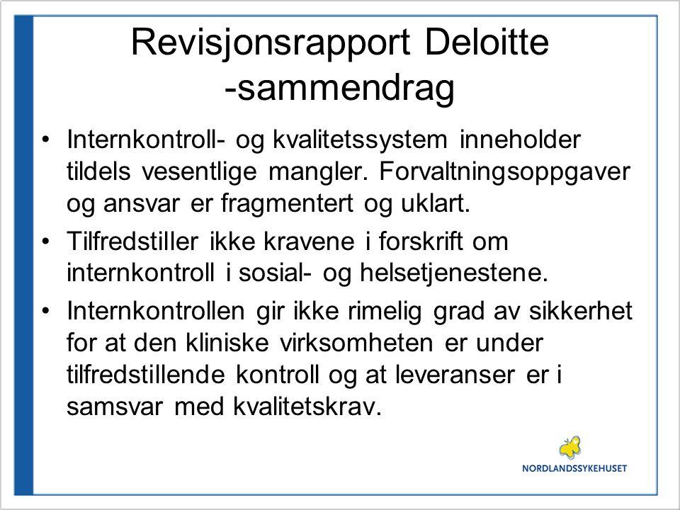 Revisjonsrapport Deloitte -sammendrag Nordlandssykehuset har iverksatt tiltak for å sikre at vedtatt funksjonsfordeling er identifisert og gjort kjent i foretaket.