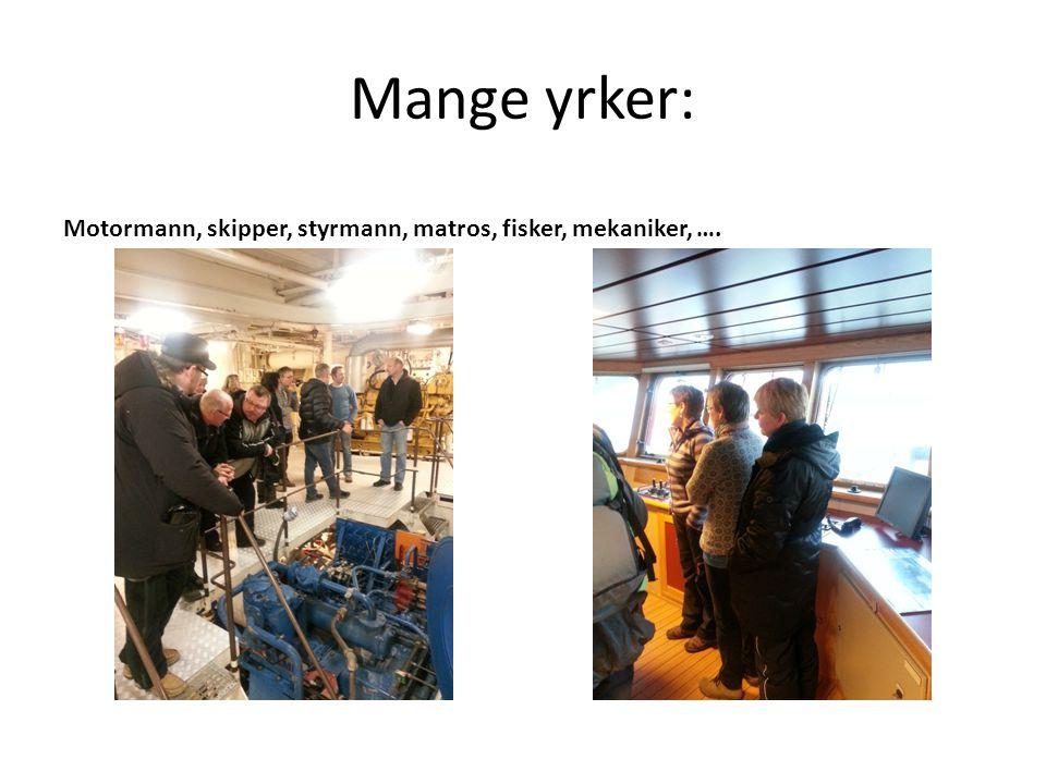 Mange yrker: Motormann, skipper, styrmann, matros, fisker, mekaniker, ….