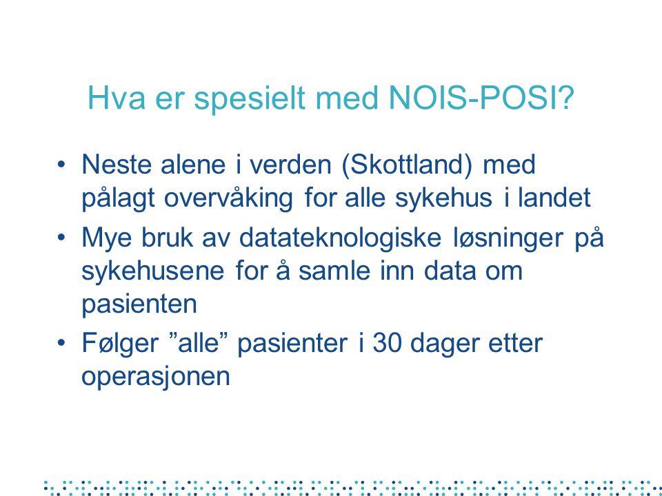 Hva er spesielt med NOIS-POSI? Neste alene i verden (Skottland) med pålagt overvåking for alle sykehus i landet Mye bruk av datateknologiske løsninger