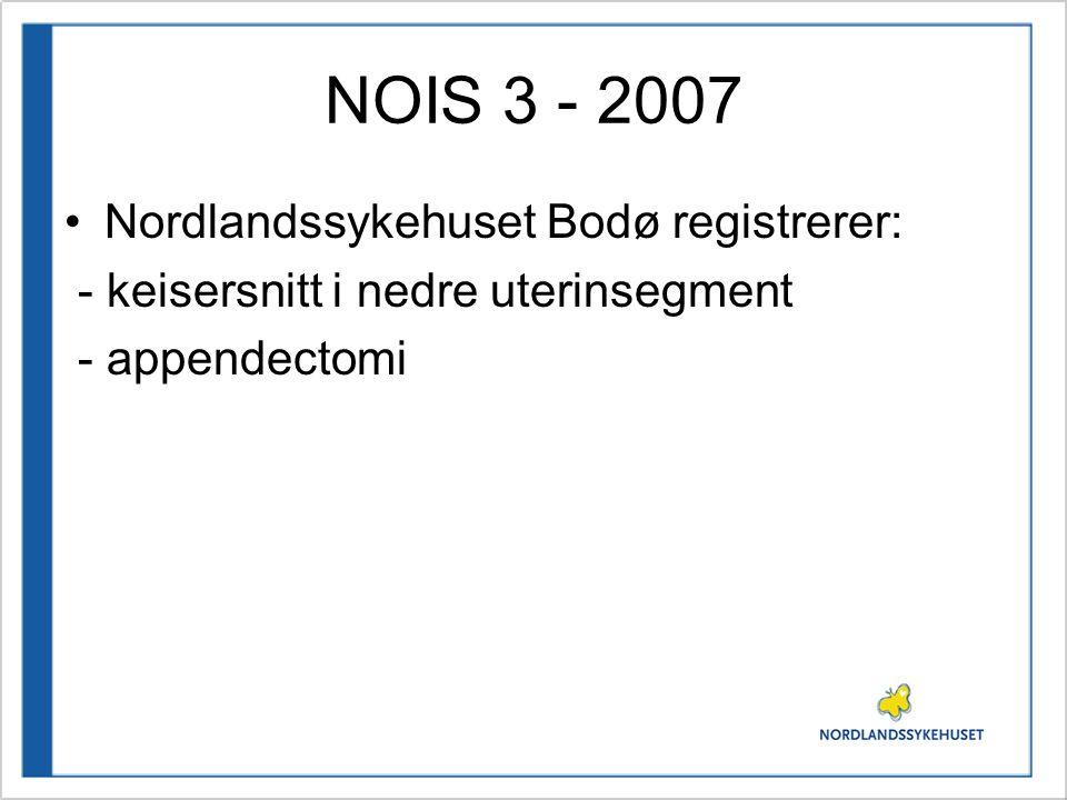 NOIS 3 - 2007 Nordlandssykehuset Bodø registrerer: - keisersnitt i nedre uterinsegment - appendectomi
