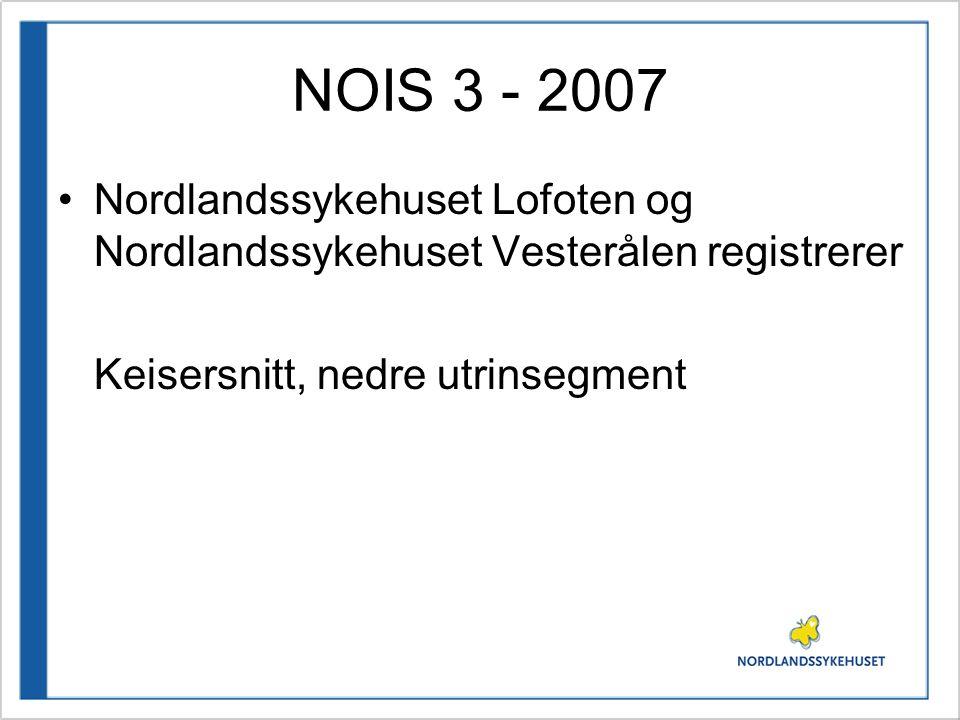 NOIS 3 - 2007 Nordlandssykehuset Lofoten og Nordlandssykehuset Vesterålen registrerer Keisersnitt, nedre utrinsegment