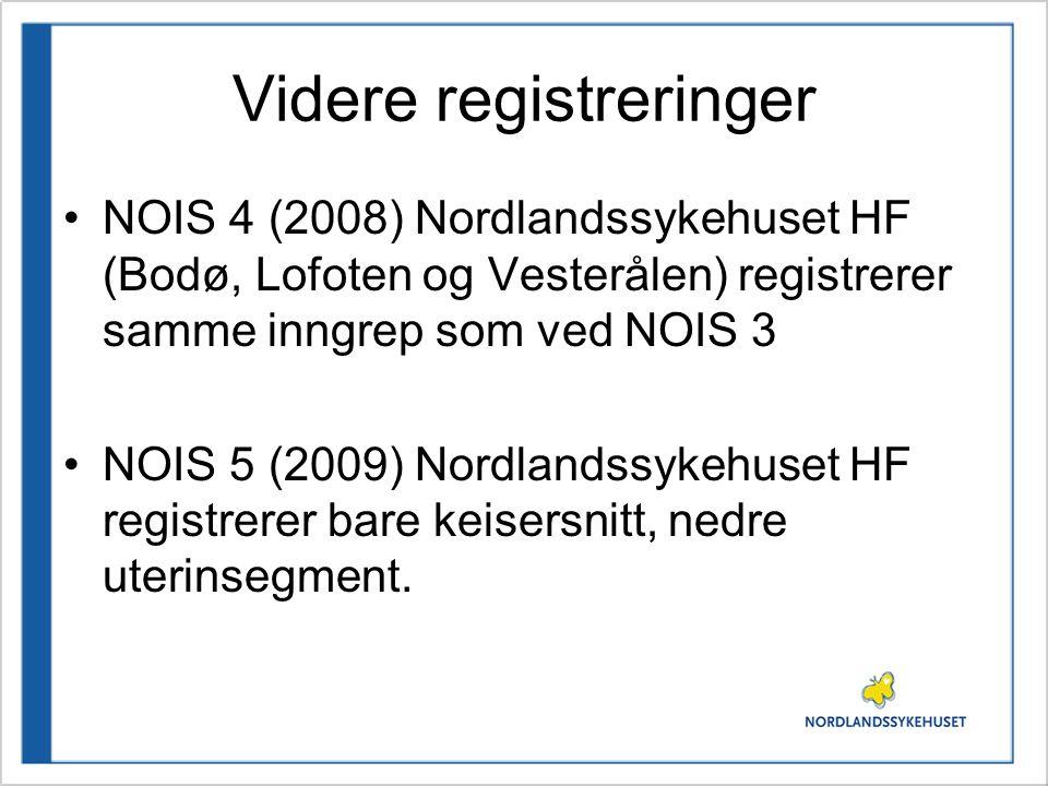 Videre registreringer NOIS 4 (2008) Nordlandssykehuset HF (Bodø, Lofoten og Vesterålen) registrerer samme inngrep som ved NOIS 3 NOIS 5 (2009) Nordlan