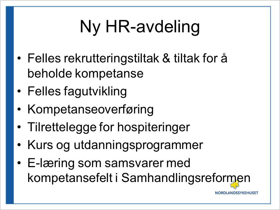 Ny HR-avdeling Felles rekrutteringstiltak & tiltak for å beholde kompetanse Felles fagutvikling Kompetanseoverføring Tilrettelegge for hospiteringer K