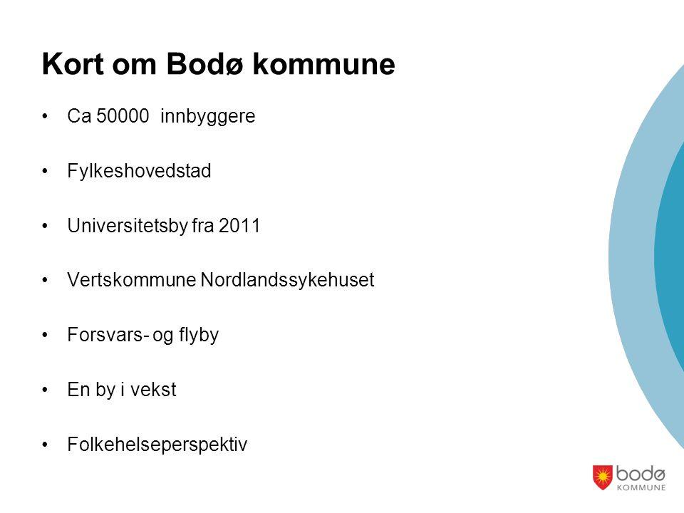 Kort om Bodø kommune Ca 50000 innbyggere Fylkeshovedstad Universitetsby fra 2011 Vertskommune Nordlandssykehuset Forsvars- og flyby En by i vekst Folk