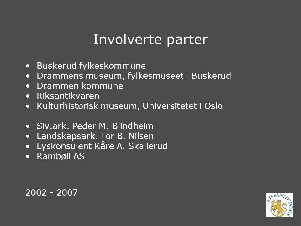 15 Involverte parter Buskerud fylkeskommune Drammens museum, fylkesmuseet i Buskerud Drammen kommune Riksantikvaren Kulturhistorisk museum, Universite