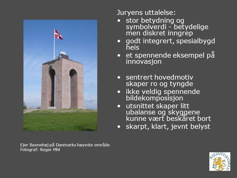 24 Ejer Bavnehøj på Danmarks høyeste område Fotograf: Roger Pihl Juryens uttalelse: stor betydning og symbolverdi - betydelige men diskret inngrep god