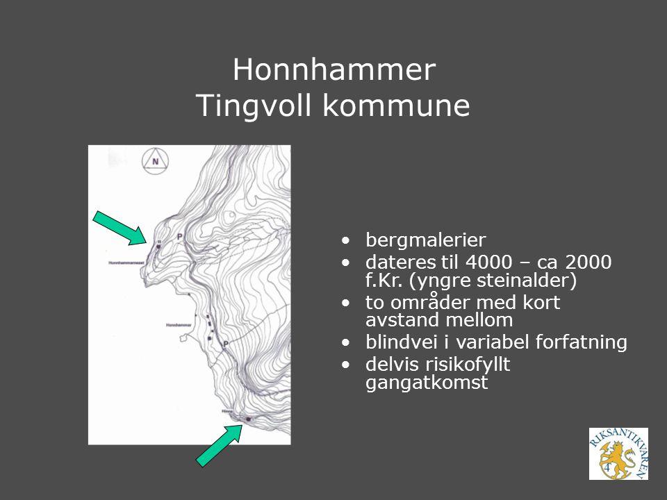 4 Honnhammer Tingvoll kommune bergmalerier dateres til 4000 – ca 2000 f.Kr. (yngre steinalder) to områder med kort avstand mellom blindvei i variabel