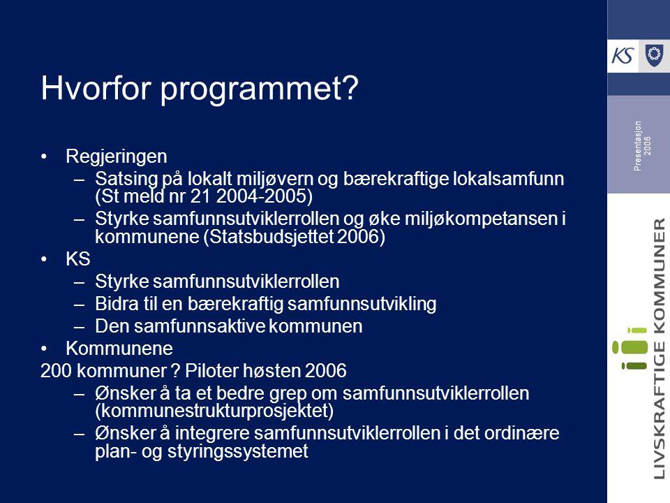 Presentasjon 2006 Hvorfor programmet? Regjeringen –Satsing på lokalt miljøvern og bærekraftige lokalsamfunn (St meld nr 21 2004-2005) –Styrke samfunns