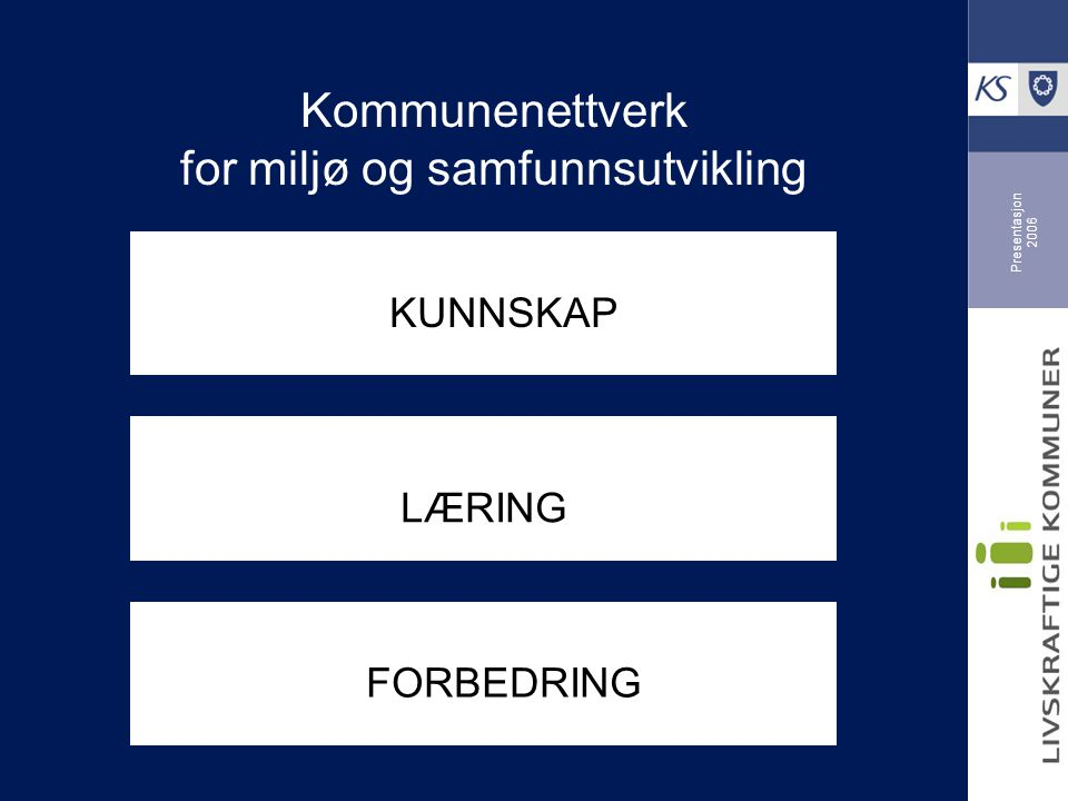 Presentasjon 2006 Kommunenettverk for miljø og samfunnsutvikling KUNNSKAP LÆRING FORBEDRING