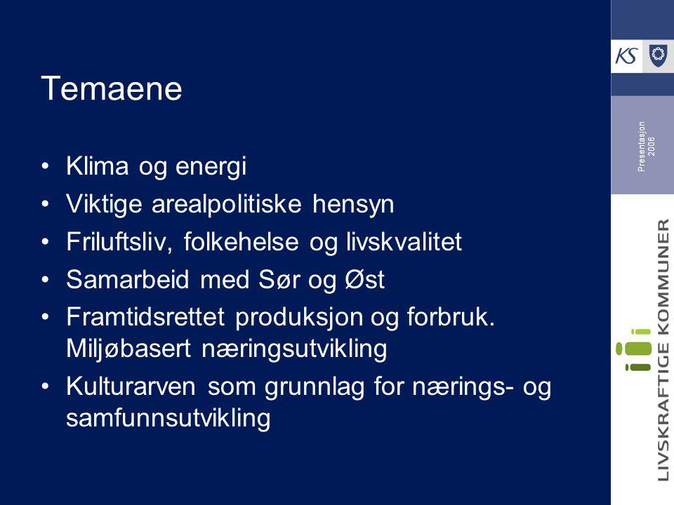 Presentasjon 2006 Temaene Klima og energi Viktige arealpolitiske hensyn Friluftsliv, folkehelse og livskvalitet Samarbeid med Sør og Øst Framtidsrettet produksjon og forbruk.