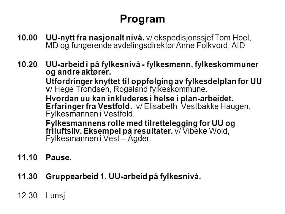 Program 10.00UU-nytt fra nasjonalt nivå. v/ ekspedisjonssjef Tom Hoel, MD og fungerende avdelingsdirektør Anne Folkvord, AID 10.20 UU-arbeid i på fylk