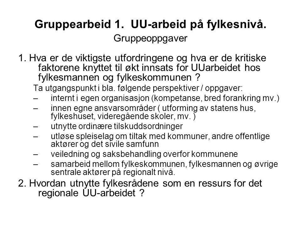 Gruppearbeid 1. UU-arbeid på fylkesnivå. Gruppeoppgaver 1.